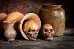 Ainda vida com crânio e o vaso humanos, produto de cerâmica Imagem de Stock Royalty Free