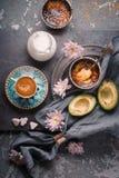 Ainda vida com creme, o abacate e a xícara de café Catalan no fundo de pedra Imagem de Stock Royalty Free