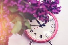 Ainda vida com despertador cor-de-rosa Imagem de Stock Royalty Free