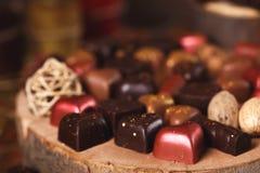 Ainda vida com doces de chocolate Fotografia de Stock