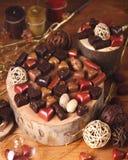 Ainda vida com doces de chocolate Imagens de Stock Royalty Free