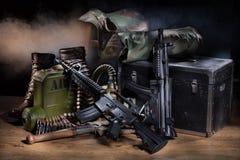 Ainda vida com equipamento militar Fotos de Stock Royalty Free