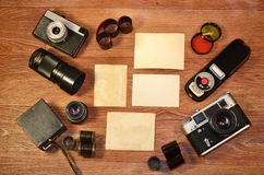 Ainda-vida com equipamento velho da fotografia Imagem de Stock