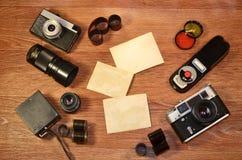 Ainda-vida com equipamento velho da fotografia Fotografia de Stock