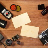 Ainda-vida com equipamento velho da fotografia Fotografia de Stock Royalty Free