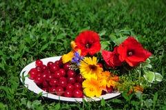 Ainda vida com flores e cereja na placa Imagens de Stock