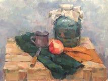 Ainda vida com frasco e maçã ilustração royalty free