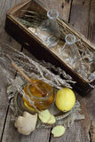 Ainda vida com gengibre, limão, mel e ervas de Provence Fotos de Stock