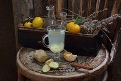 Ainda vida com gengibre, limão, mel e ervas de Provence Fotos de Stock Royalty Free
