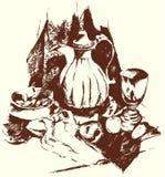 Ainda vida com jarro e fruto Imagem de Stock