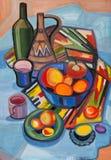 Ainda vida com fruto em um vaso e em placas ilustração royalty free