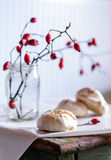 Ainda vida com merengue e ramos de quadris cor-de-rosa Fotos de Stock Royalty Free