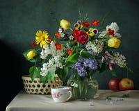 Ainda a vida com mola floresce em um jarro de vidro Imagens de Stock Royalty Free