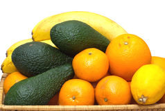 Ainda vida com o close up dos frutos tropicais Fotos de Stock Royalty Free