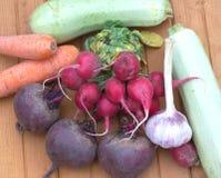 Ainda vida com o close up fresco dos vegetais de raizes Fotos de Stock Royalty Free