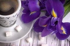 Ainda a vida com o copo da íris do marshmallow do coffe floresce a fita roxa no fundo de madeira branco Fotos de Stock