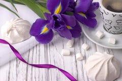Ainda a vida com o copo da íris do zéfiro do marshmallow do coffe floresce a fita roxa no fundo de madeira branco Fotos de Stock