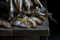 Ainda vida com os peixes crus frescos e em uma tabela de madeira Foto de Stock Royalty Free