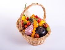 Ainda vida com os tomates e beringelas diferentes da cor Imagem de Stock Royalty Free