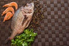 Ainda vida com peixes, camarão e especiarias Fotos de Stock