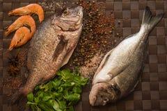 Ainda vida com peixes, camarão e especiarias Foto de Stock