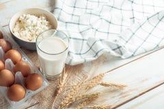 Ainda vida com produtos lácteos Fotos de Stock Royalty Free