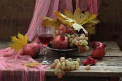 Ainda vida com romã e vinho tinto Fotografia de Stock Royalty Free