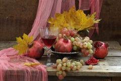 Ainda vida com romã e vinho tinto Imagens de Stock Royalty Free