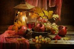 Ainda vida com romã e vinho tinto Fotografia de Stock