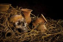Ainda vida com ser humano um crânio na palha e no vaso Foto de Stock Royalty Free