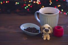 Ainda vida com um copo e os ornamento de café Foto de Stock