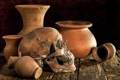 Ainda vida com um crânio e um vaso Foto de Stock Royalty Free