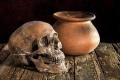 Ainda vida com um crânio e um vaso, produto de cerâmica Fotos de Stock