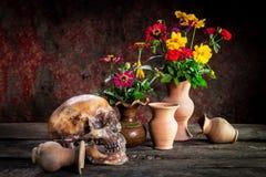 Ainda vida com um crânio e um vaso, produto de cerâmica Fotografia de Stock