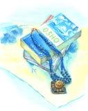 Ainda vida com um livro azul Fotografia de Stock