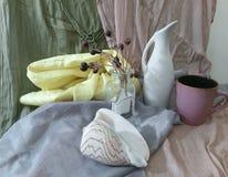 Ainda vida com um vaso e um shell brancos do mar Imagem de Stock