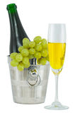 Ainda-vida com um vidro do vinho e de um frasco Fotos de Stock Royalty Free