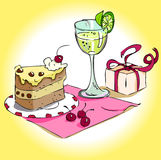 Ainda vida com um vidro, um bolo e um presente Imagens de Stock