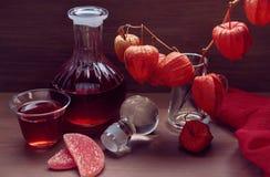 Ainda vida com uma bebida no vermelho - tons marrons Imagens de Stock Royalty Free