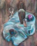 Ainda vida com uma obscuridade - pano azul ilustração royalty free