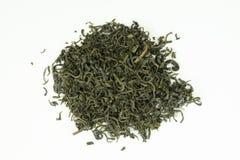 Ainda vida com uma opinião do close-up das folhas de chá verdes isoladas Imagens de Stock Royalty Free