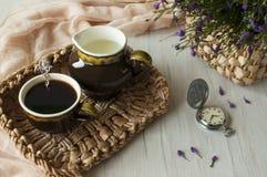 Ainda vida com uma xícara de café Imagens de Stock