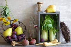 Ainda vida com vários vegetais e frutos Fotografia de Stock