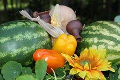 Ainda vida com vegetais abundância da colheita Imagem de Stock