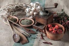 Ainda vida com vegetais e as ervas secadas Fotos de Stock Royalty Free