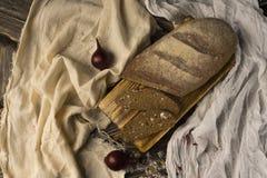 Ainda vida conceptual das partes de pão e de dois bulbos da cebola, sobre Fotografia de Stock