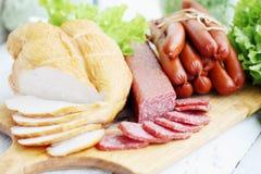 Ainda vida da carne fumado Imagens de Stock