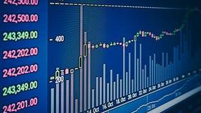Ainda vida da carta do mercado de valores de ação de BTC, dados do mercado de valores de ação no diodo emissor de luz d Foto de Stock Royalty Free