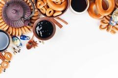 Ainda vida da culinária ritual popular do russo Teaparty tradicional Fotos de Stock