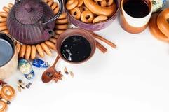 Ainda vida da culinária ritual popular do russo Teaparty tradicional Fotografia de Stock
